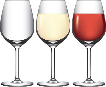 Copas de vino con vino tinto y blanco. Ilustración de vector