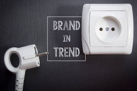 Creative on the topic of brand in the trend. Power plug and socket Reklamní fotografie
