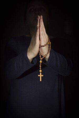 Adult Woman Hands Holding Cross Praying for God Religion Imagens