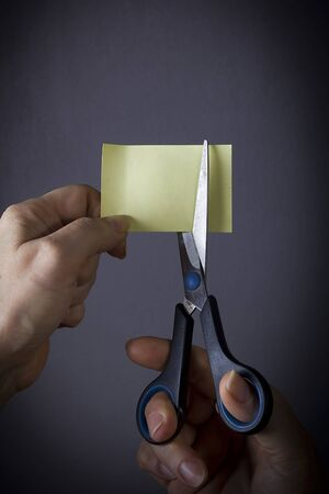 Female hands with scissors and a sheet of paper