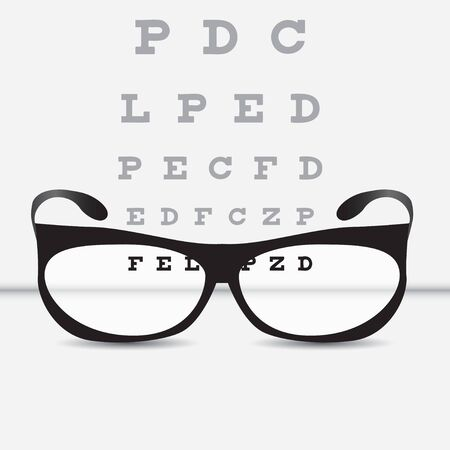 Vision control table with classic glasses. Vector illustration. 일러스트