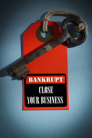 Shortcut with an old key. Bankrupt - close your business Фото со стока