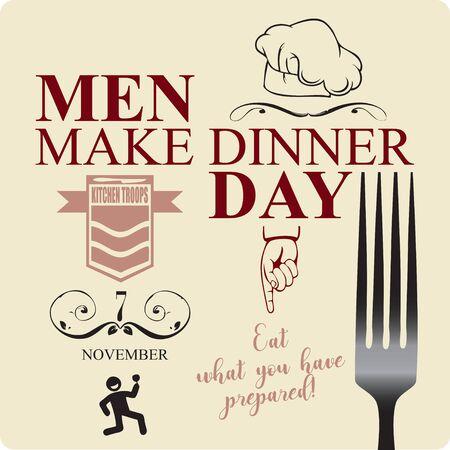 Póster - Come lo que has preparado. Noviembre - Los hombres hacen el día de la cena Ilustración de vector
