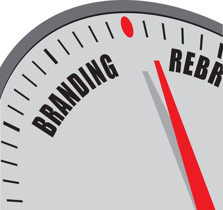 Clock hand between branding and rebranding. The time when a brand needs rebranding.