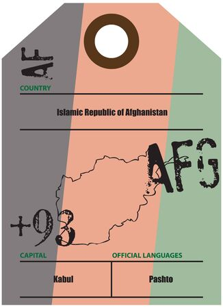 Country label Afghanistan with official domain name and code information