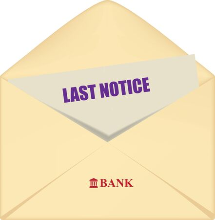 Open envelope with a bank reminder final notice