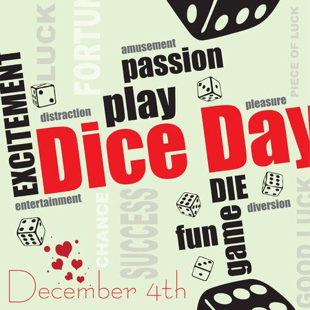 December is International Dice Day. set of words for a day of dice with dice and luck