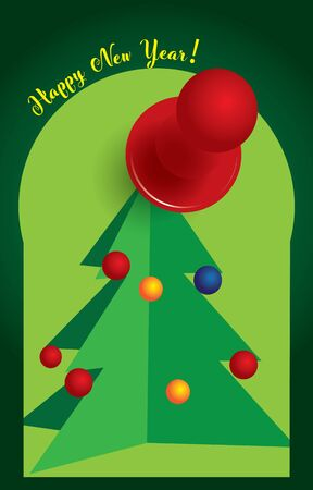 Postcard vertical Merry New Year. Christmas tree in Christmas balls and a paper clip 向量圖像