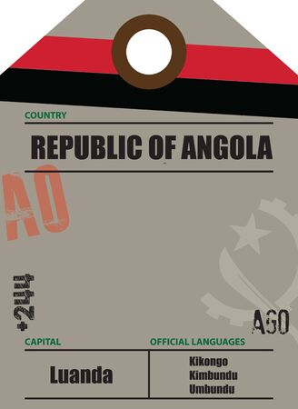 Country label Angola with official domain name and code information