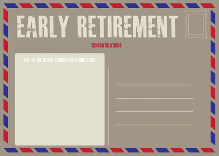 Postcard on early retirement with a place to fill out the form