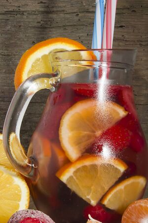 Sangria on wine with a variety of fruits