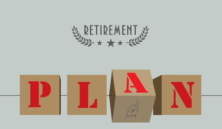 Stimulating poster for retirement plan. Cubes with text plan. 向量圖像