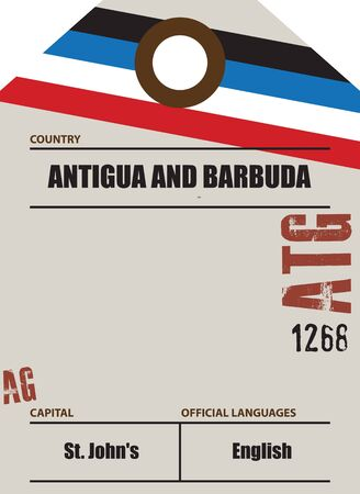 Country label Antigua and Barbuda with official domain name and code information