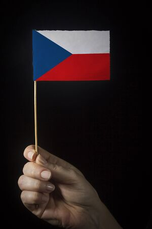Hand with small flag of state of Czech Republic