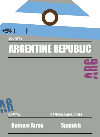 Country label Argentina with official domain name and code information