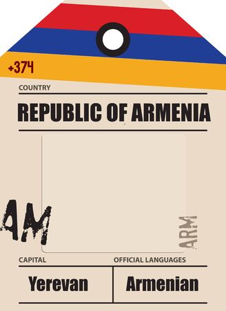 Country label Armenia with official domain name and code information
