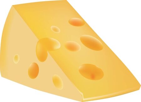 Classic hard cheese. Cheese segment from a round head. Vector illustration. Иллюстрация