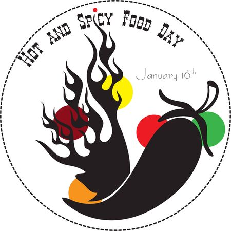 Hot and Spicy Food Day Label. Vector illustration Çizim