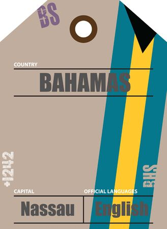 Country label Bahamas with official domain name and code information