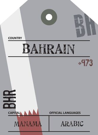 Country label Bahrain with official domain name and code information