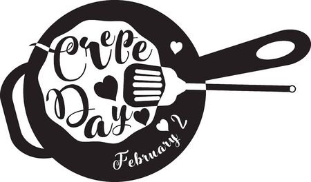 Symbol to date Crepe Day. Celebrating February 2