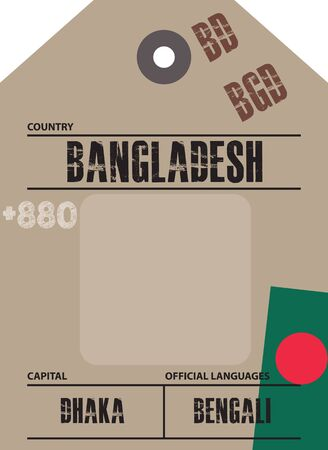 Country label Bangladesh with official domain name and code information Ilustrace