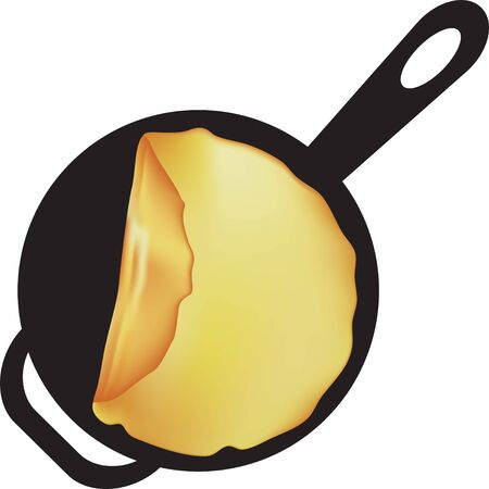Fried pancake in a pan with a handle Ilustração