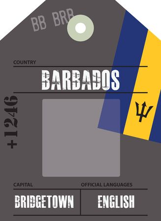 Country label Barbados with official domain name and code information Ilustrace