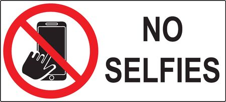 Horizontal sign prohibiting selfie. Red ban circle with a phone in hand. text - no selfies Illustration