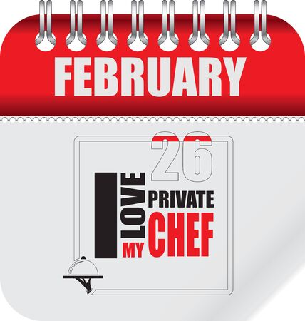 Calendar with Personal Chef Day. Date is celebrated on February 26th.