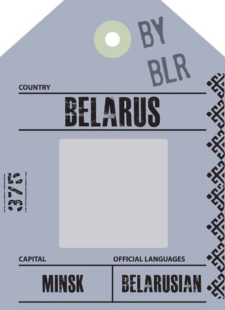Country label Belarus with official domain name and code information