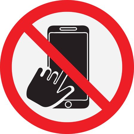 Symbol prohibition to take a selfie. Red ban circle with a phone in hand