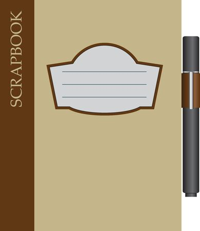 Standard Scrapbook with pen included. Vector illustration.
