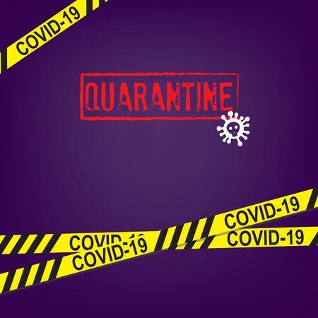 Poster with yellow tape restricted quarantine for coronavirus 向量圖像
