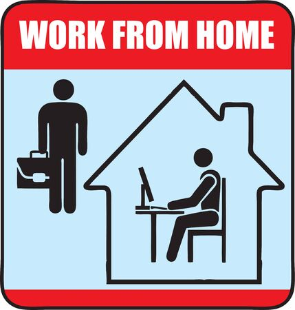 Warning sign about the need to comply with quarantine and work at home. Offices are quarantined, work from home.