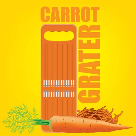 Special kitchen equipment for chopping carrots. Vector illustration