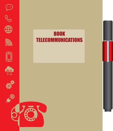 Workbook for Telecommunications. Book cover with communication icons.