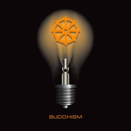 Light bulb on a black background with the symbol of buddhism
