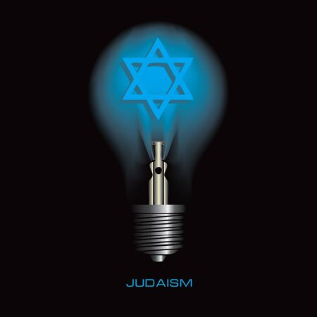 Light bulb on a black background with the symbol of judaism