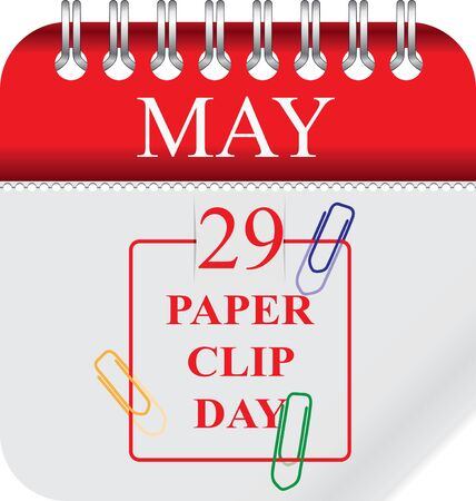 Calendar with perforation for changing dates - may Paper Clip Day Ilustração