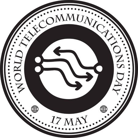 Stamp print world telecommunications day. Holidays and events in may. Stock Illustratie