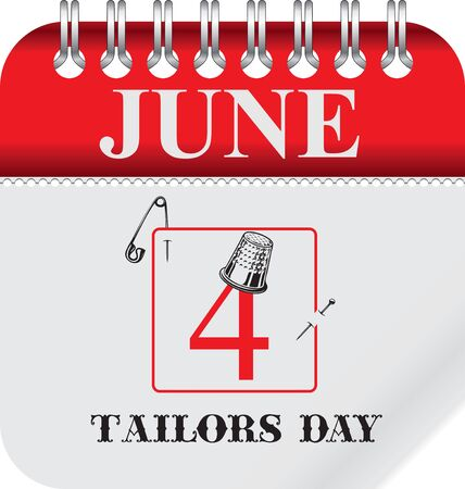 Calendar with perforation for changing dates - june Tailors Day Çizim