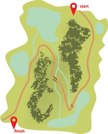 Abstract touristic map with start and finish. The road runs along rivers, lakes and forests.