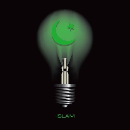 Light bulb on a black background with the symbol of Islam