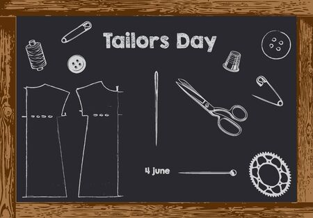 Chalk board with wooden frame for date Tailors Day Vectores
