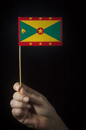 Hand with small flag of state of Grenada