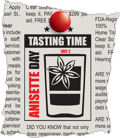 An ad on a piece of newspaper is a tasting time. The holiday is dedicated to Anisette Day, celebrated in July. 向量圖像