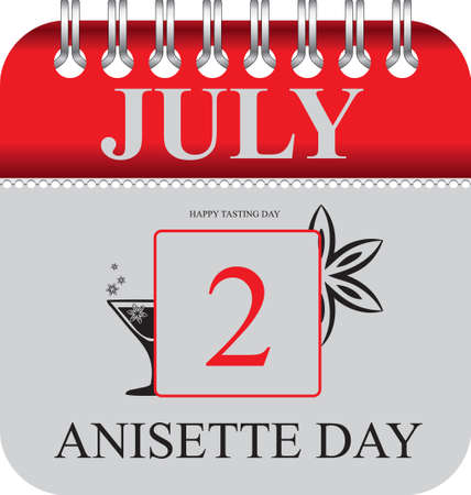 Calendar with perforation for changing dates - july Anisette Day Illustration
