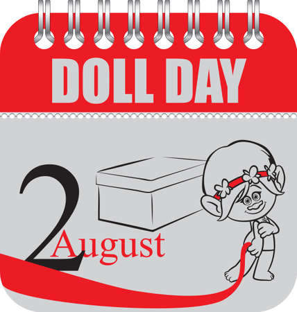 Calendar with perforation for changing dates - august Doll Day