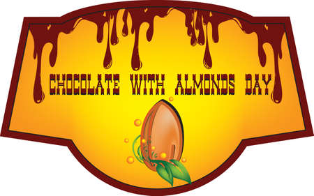 Shortcut for July event Chocolate with Almonds Day. Vector Illustration